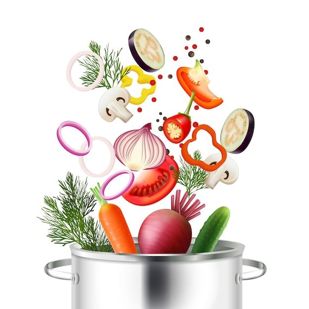 Realistisches konzept des gemüses und des topfes mit bestandteilen und kochen von symbolen vector illustration Kostenlosen Vektoren