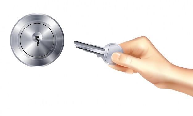Realistisches konzept des verschlusses und des schlüssels mit metallischem türschlüsselloch und der hand, die schlüssel hält Kostenlosen Vektoren