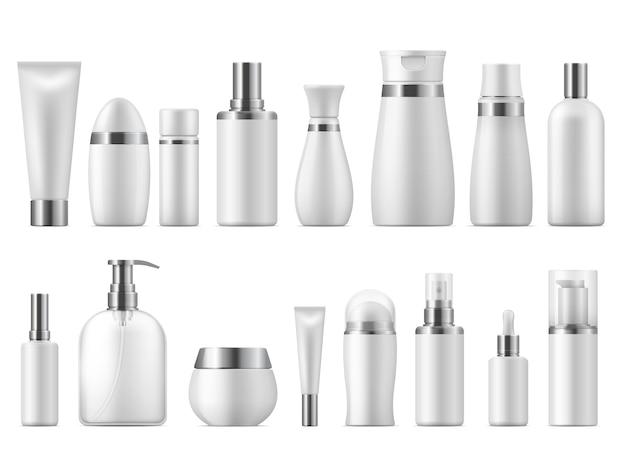 Realistisches kosmetikpaket. schönheitskosmetikprodukt leer weiße packung spa kosmetik leer. plastikpflegeflaschenschablone Premium Vektoren