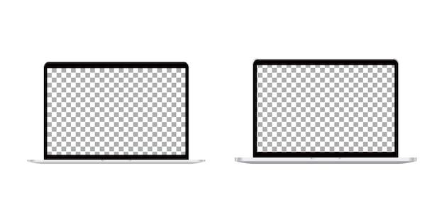 Realistisches laptop-set. Premium Vektoren