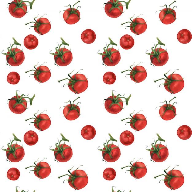 Realistisches lebensmittelmuster des aquarells mit tomaten Premium Vektoren