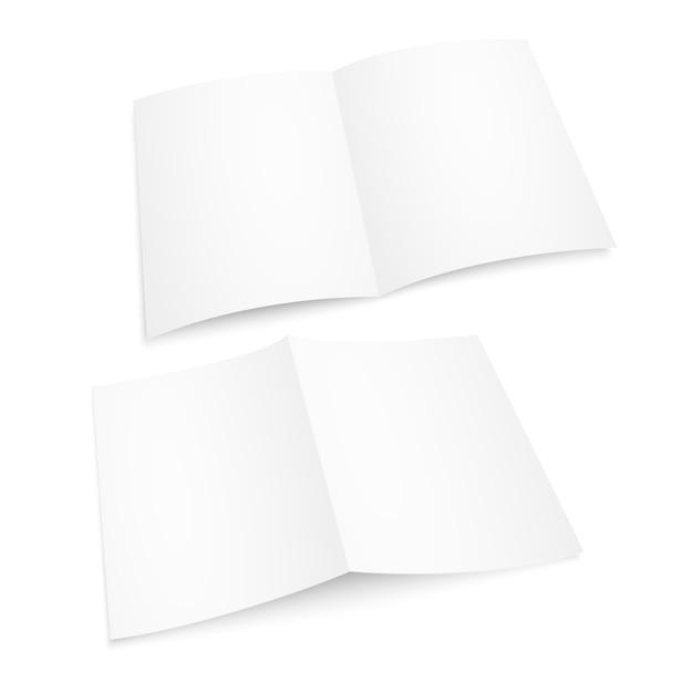 Realistisches leeres weiß öffnete zeitschrift. papieralbum oder buch Premium Vektoren