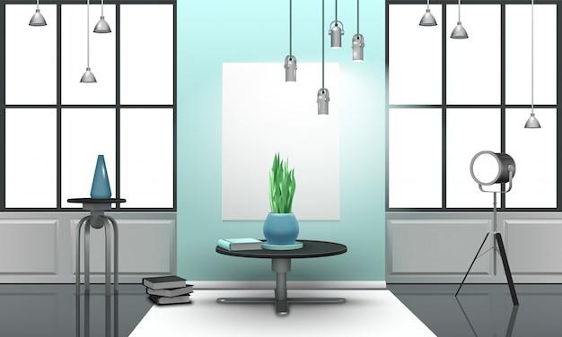 Realistisches loft-interieur in hellen tönen Kostenlosen Vektoren