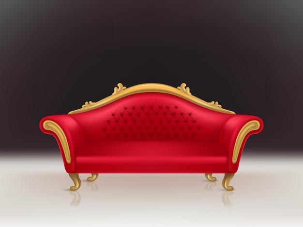 Realistisches luxuriöses rotes samtsofa des vektors mit den goldenen geschnitzten beinen auf schwarzem hintergrund, weißer boden. Kostenlosen Vektoren
