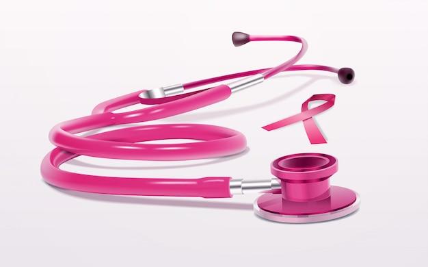 Realistisches medizinisches werkzeug des rosa bandstethoskopikonen-brustkrebsbewusstseins Premium Vektoren