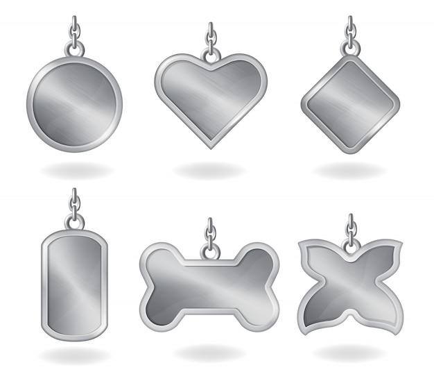 Realistisches metall silber markiert verschiedene formen Kostenlosen Vektoren