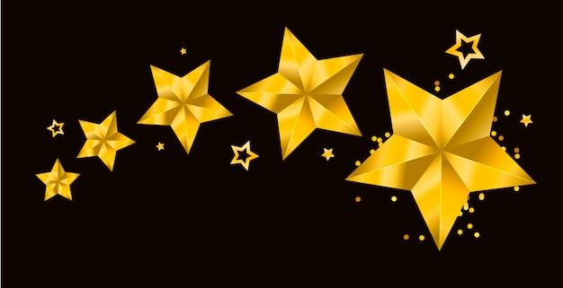 Realistisches metallisches goldenes getrenntes gelbes weihnachten 3d des sternes Premium Vektoren