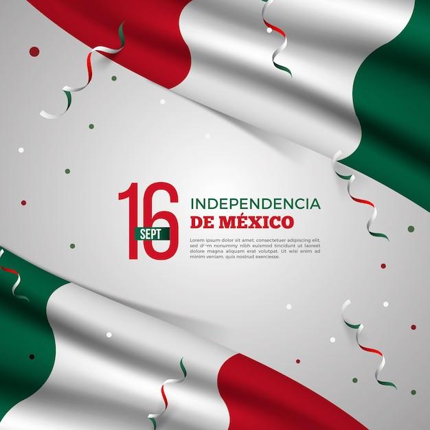 Realistisches mexikanisches unabhängigkeitstagkonzept Premium Vektoren