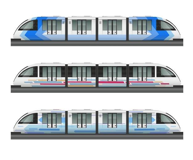 Realistisches modell des personenzuges mit seitenansicht von drei stadtzügen mit verschiedener farbtonfarbenillustration Kostenlosen Vektoren