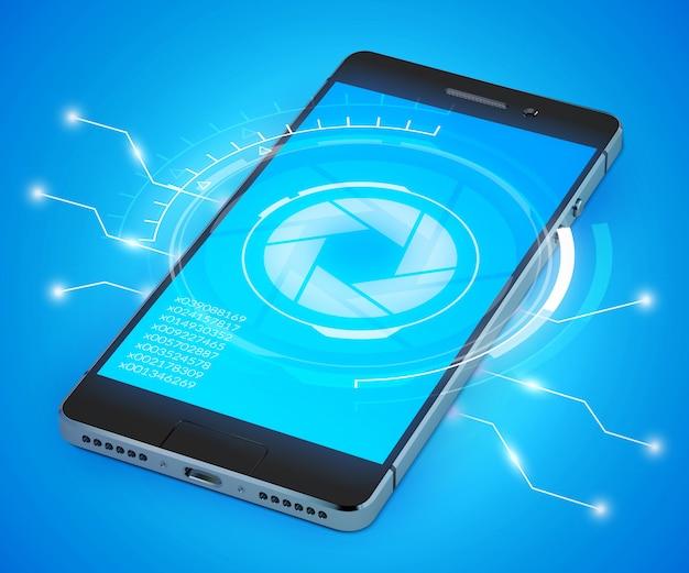 Realistisches modell des smartphone 3d mit ui-konzept Kostenlosen Vektoren