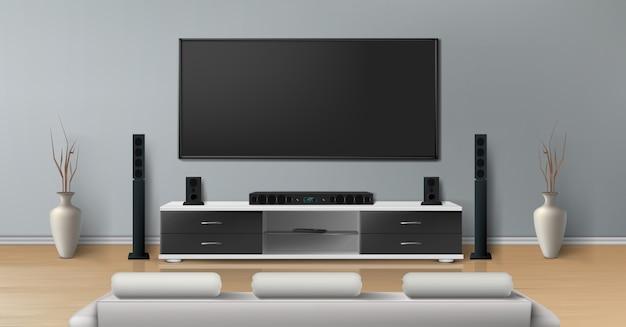 Realistisches modell des wohnzimmers mit großem plasmafernseher auf flacher grauer wand, schwarzer stand Kostenlosen Vektoren