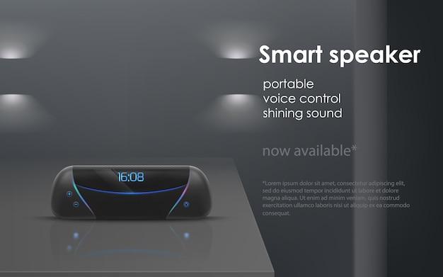 Realistisches modell mit schwarzem tragbaren intelligenten lautsprecher auf grauem hintergrund. Kostenlosen Vektoren