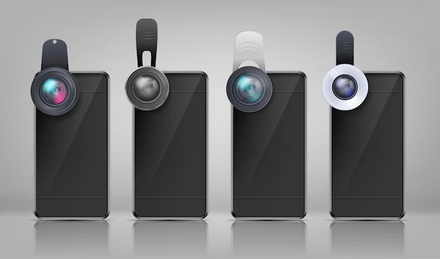Realistisches modell, schwarze smartphones mit verschiedenen clip-on-objektiven Kostenlosen Vektoren
