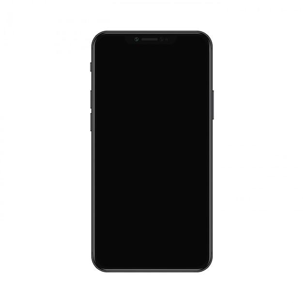 Realistisches modernes smartphone mit nicht schwarzer bildschirmillustration Premium Vektoren