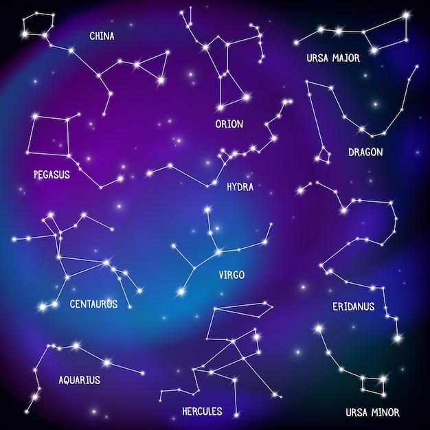 Realistisches nachthimmelplakat mit sternbildern Kostenlosen Vektoren