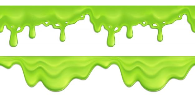 Realistisches nahtloses muster mit grün schmelzender schleim tropft illustration Kostenlosen Vektoren
