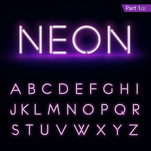 Realistisches neon-alphabet. lila, blau leuchtende schrift. Premium Vektoren
