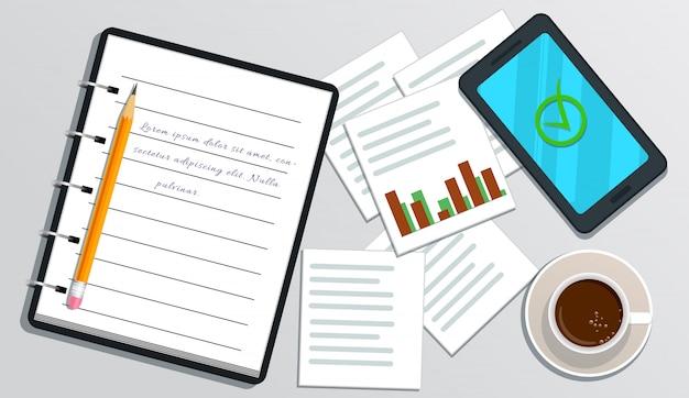 Realistisches notizbuch mit text, smartphone mit häkchen auf schirm, bleistift, tasse kaffee, diagramm lokalisiert auf weiß Premium Vektoren