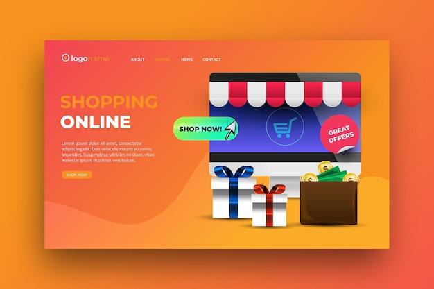 Realistisches online-landingpage-design für einkäufe Kostenlosen Vektoren