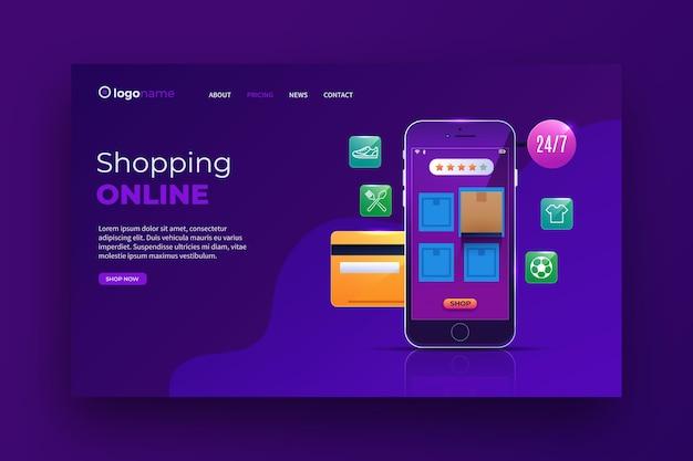 Realistisches online-landingpage-thema für einkäufe Kostenlosen Vektoren