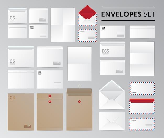 Realistisches papierbüroumschlagdokumentenbriefesatz lokalisierte bilder mit schablonen für unterschiedliche blattgrößenvektorillustration Kostenlosen Vektoren