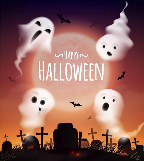 Realistisches plakat der glücklichen halloween-feier mit 4 geistern, die über friedhof und schläger bei sonnenuntergang schwimmen Kostenlosen Vektoren