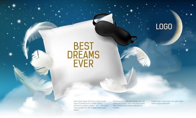 Realistisches quadratisches kissen 3d mit augenbinde auf ihm für die besten träume überhaupt Premium Vektoren