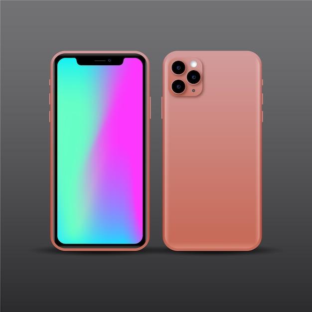 Realistisches rosafarbenes smartphonedesign mit drei kameras Kostenlosen Vektoren