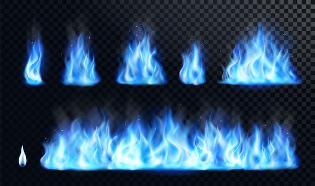 Realistisches set der blauen feuerflamme Premium Vektoren