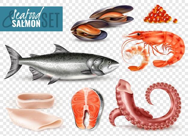 Realistisches set mit meeresfrüchten mit ganzen frischen lachsgarnelen, tintenfischscheiben, tintenfisch-tentakel-muscheln, transparent Kostenlosen Vektoren