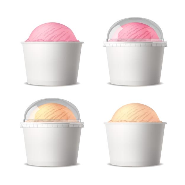 Realistisches set weißer plastikbecher mit eis verschiedener geschmacksrichtungen Kostenlosen Vektoren
