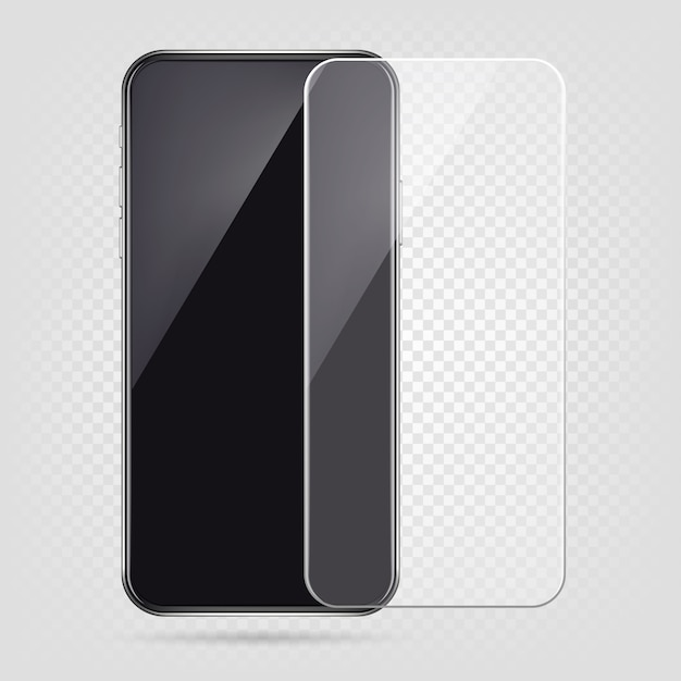 Realistisches smartphone, displayschutzfolie, transparente glasabdeckung des handys Premium Vektoren