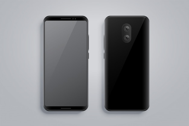 Realistisches smartphone-modell mit vorder- und rückseite Kostenlosen Vektoren