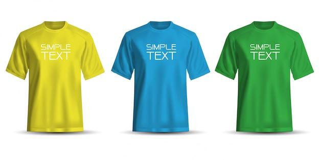Realistisches t-shirt gelbes blaues grün auf weißem hintergrund. Premium Vektoren