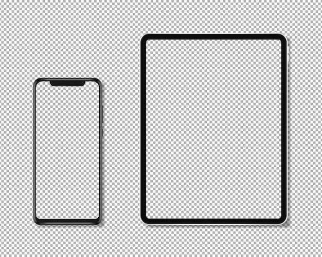 Realistisches telefon und tablet Premium Vektoren