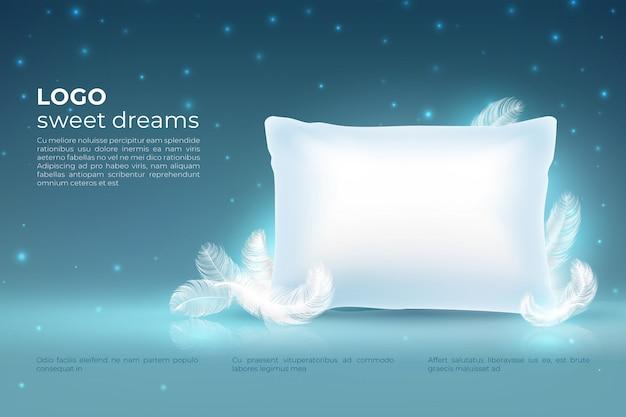 Realistisches traumkonzept. komfort schlaf, bett entspannen kissen mit federn, wolken sterne am nachthimmel. traum 3d hintergrund Premium Vektoren