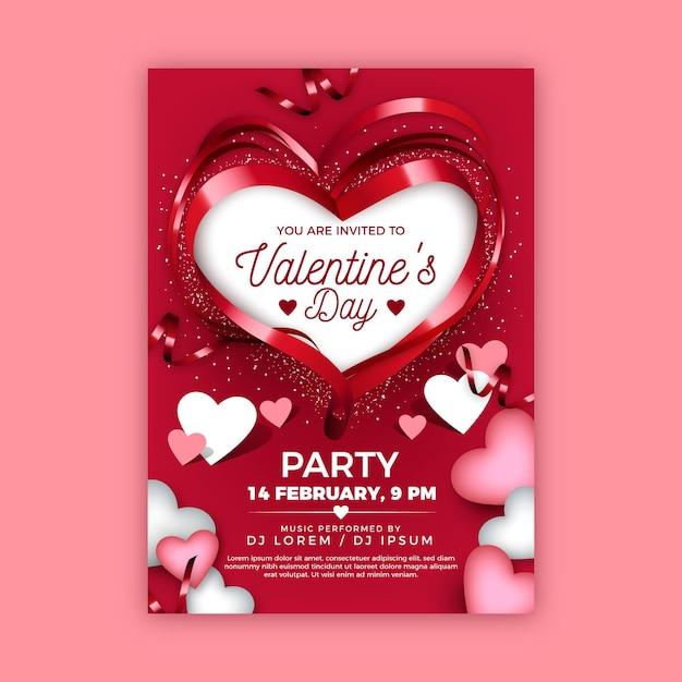 Realistisches valentinstag-partyplakat Kostenlosen Vektoren