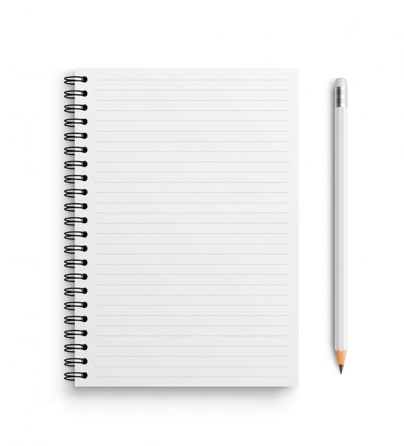 Realistisches vektornotizbuch und weißer stift. Premium Vektoren