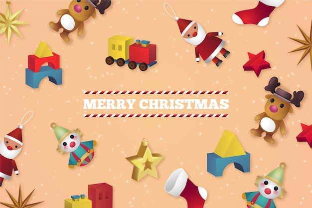 Realistisches weihnachten spielt hintergrund Kostenlosen Vektoren