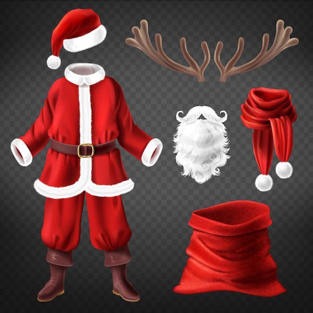 Realistisches weihnachtsmannkostüm mit accessoires für die kostümparty Kostenlosen Vektoren