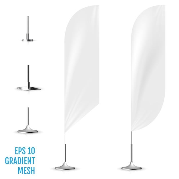 Realistisches weißes fahnenflaggen 3d modell. Premium Vektoren