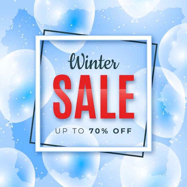 Realistisches winterschlussverkauf-fahnenkonzept Kostenlosen Vektoren