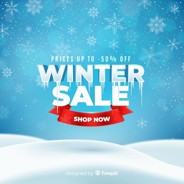 Realistisches winterschlussverkaufkonzept Kostenlosen Vektoren