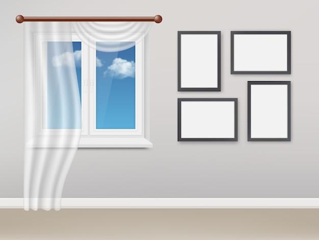 Realistisches wohnzimmer mit weißem plastikfenster und vorhängen Premium Vektoren