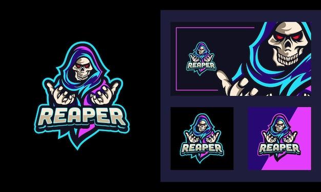 Reaper neon light maskottchen und sport logo design vorlage Premium Vektoren