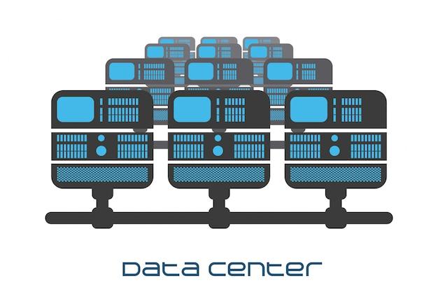Rechenzentrum design Premium Vektoren