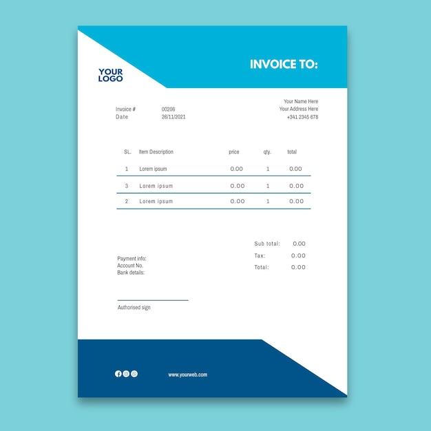Rechnungsvorlage für elektrikeranzeige Kostenlosen Vektoren