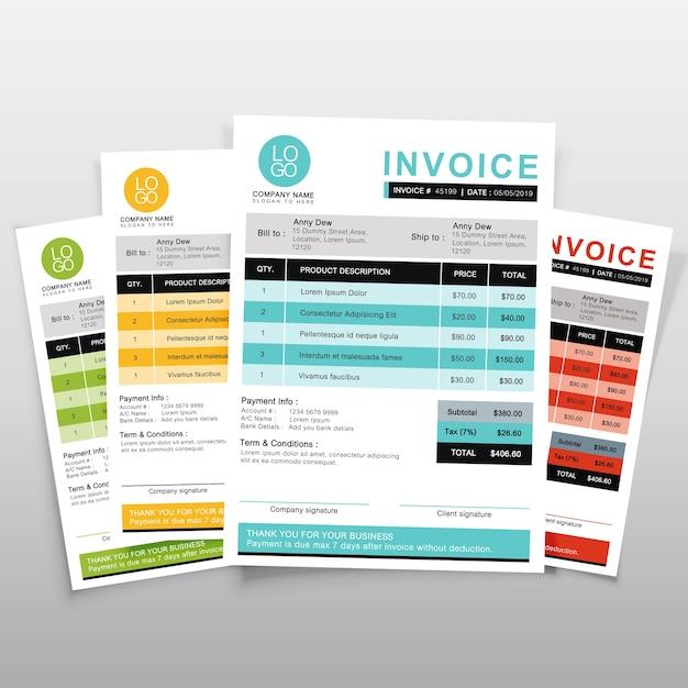Rechnungsvorlage vektor-design. minimaler zitatentwurf des grüns, des gelbs, des blaus und der orange. Premium Vektoren