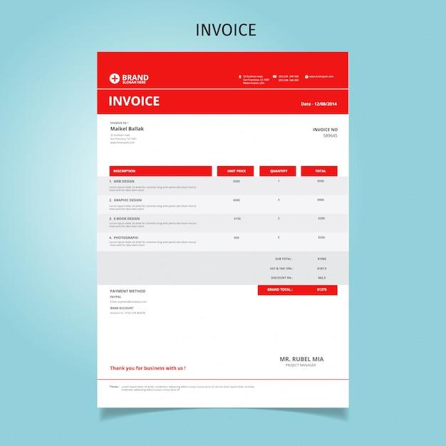 Rechnungsvorlagen-design Premium Vektoren