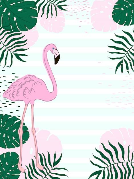 Rechteckige blätter des tropischen rahmens und flamingo-sommer-fahne Premium Vektoren